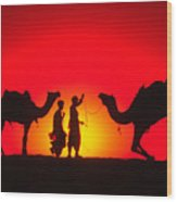 Camels At Sunset Wood Print