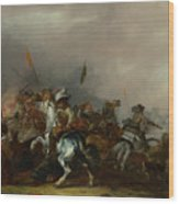 Cavalry Attacked By Infantry Wood Print