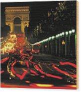 Champs Elysee At Night Wood Print