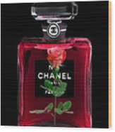 Chanel Perfume With Red Roses Wood Print