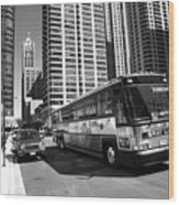 Chicago Bus And Buildings Wood Print