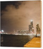Chicago Skyline Fireworks Wood Print