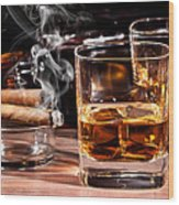 Cigar And Alcohol Collection Wood Print