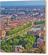 City Of Verona Old Center And Adige River Aerial Panoramic View Wood Print