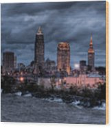 Cleveland Skyline At Dusk From Edgewater Park Wood Print