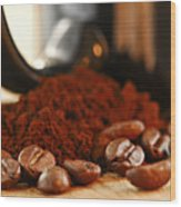 Coffee Beans And Ground Coffee Wood Print