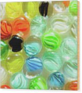 Colored Glass Beads On White Background Wood Print