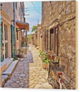 Colorful Mediterranean Stone Street Of Prvic Island Wood Print