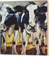 3-cows Wood Print