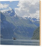 Cruise In Geiranger Fjord Norway Wood Print