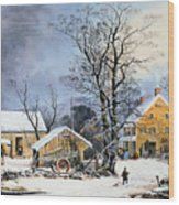 Currier & Ives Winter Scene Wood Print