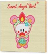Cute Art - Sweet Angel Bird In A Bear Costume Holding A Basket Of Forget-me-nots Wall Art Print Wood Print