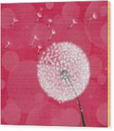 Dandelion Flying Wood Print