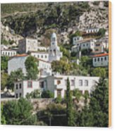 Dhermi Traditional Village View In Southern Albania Wood Print