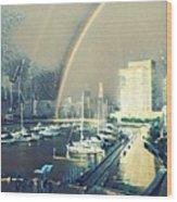 Docklands Double Rainbow Wood Print