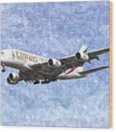 Emirates A380 Airbus Watercolour Wood Print
