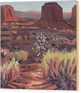 Evening In Monument Valley Wood Print