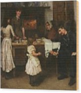 Family Scene In A Kitchen Wood Print
