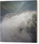 Fantastic Dreamy Sunrise On Foggy Mountains Wood Print