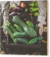 Farmer With Vegetables Wood Print