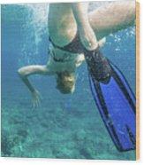 Female Snorkeling Wood Print
