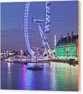 Ferris Wheel At The Waterfront Wood Print