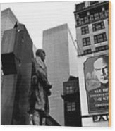 Film Homage The Fighting 69th 1940 Fr. Duffy Statue Yul Brynner Palace Theater New York 1977 Wood Print