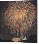 Fireworks Over Washington Dc On July 4th Wood Print
