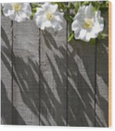 3 Flowers On The Fence Wood Print