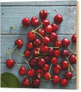 Fresh Cherries On Wood Wood Print