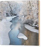 Fresh Snowfall Gauley River Wood Print