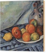 Fruit And A Jug On A Table Wood Print