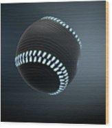 Futuristic Neon Sports Ball Wood Print