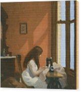 Girl At Sewing Machine Wood Print