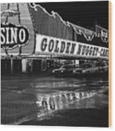 Golden Nugget Casino At Night In The Rain Las Vegas Nevada 1979 Wood Print