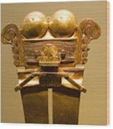 Golden Pre-columbian Figure Wood Print