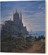 Gothic Church On A Rock By The Sea  Wood Print