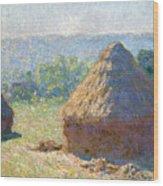 Haystacks, End Of Summer Wood Print