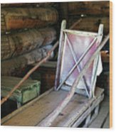 Historic Log Trappers Cabin Wood Print