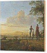 Horsemen And Herdsmen With Cattle Wood Print