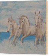 3 Horses Wood Print