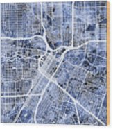 Houston Texas City Street Map Wood Print