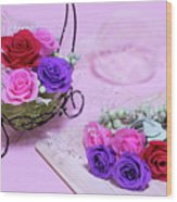 How To Make Preservrd Flower And Clay Flower Arrangement, Colorf Wood Print