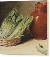 Hunt William Henry Still Life With A Jug A Cabbage In A Basket And A Gherkin William Henry Hunt Wood Print