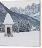 Idyllic Landscapes Immersed In The Snow. The Dream Of The Julian Alps And Valbruna Wood Print