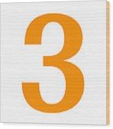 3 In Tangerine Typewriter Style Wood Print