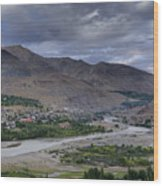 Indus River And Kargil City Leh Ladakh Jammu Kashmir India Wood Print
