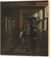 Interior With A Young Couple Wood Print