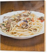 Italian Spaghetti And Clams Made In Naples Wood Print