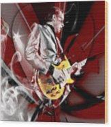 Joe Bonamassa Blue Guitarist Art Wood Print